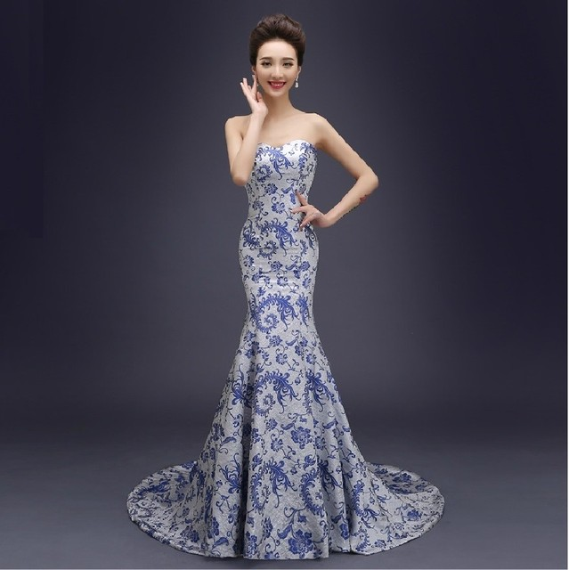 ebe839883 For summer Chinese traditional dress long design women's costume blue and  white porcelain Chinese style cheongsam