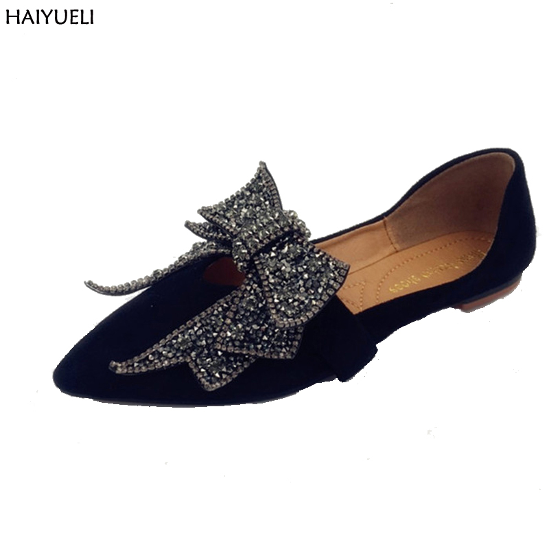 Ladies Shoes Fashion Rhinestone Bow Women Flats Spring Slip On Loafers Women Pointed Toe Flat Shoes Waman Black/Brown Flats spring autumn women shoes fashion rhinestone slip on round toe flats shallow mouth mature shoes mary janes casual loafers shoes