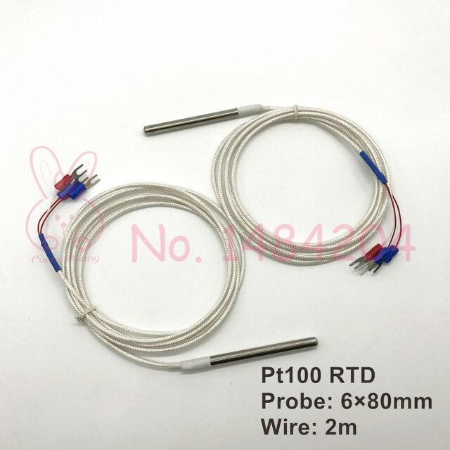 1x PT100 Temperature sensor 6mm*80mm RTD probe 3 wire 2m Platinum ...