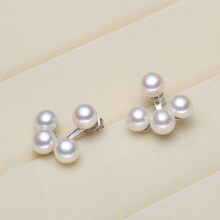925 silver real natural big [2016] new bright pearl earrings earrings natural freshwater pearls Steamed Buns round a two.