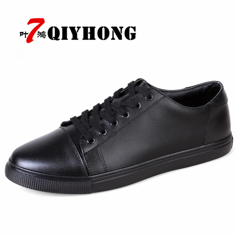 Big Size 38-45 Breathable Men Genuine Leather Shoes Cowhide Casual Brand Men Flat Shoes Fashion Lace Up Foowear For Adults