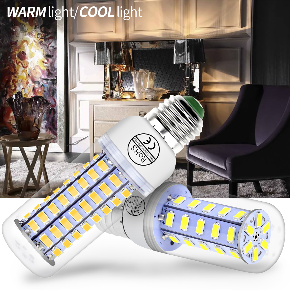 цена на GU10 LED Lamp E14 220V Bombilla Led E27 Corn Bulb 5730 SMD Led Ampul 230V Candle Light For Home Chandelier 24 36 48 56 69 72LEDs