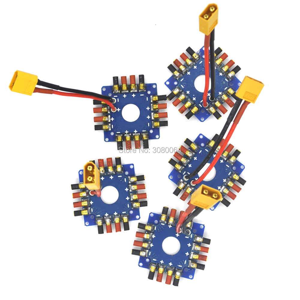 1PCS ESC Power supply Distribution Board Connection Board with XT60 T Plug 3.5mm banana bullet connectors For RC drone 100a multicopter multi quad copter power battery to 16 esc connection board