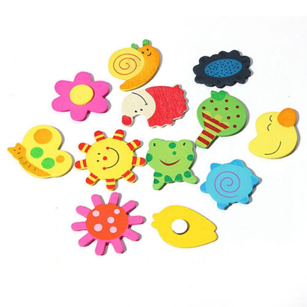 12 шт./лот деревянный магнит на холодильник наклейки Животные мультфильм красочные детские игрушки для детей детские развивающие