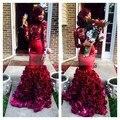 Africano Vinho de Borgonha Sereia Vestidos de Baile 2017 Sexy Alta Neck 3d flor flora lace mangas compridas evening dress para preto meninas
