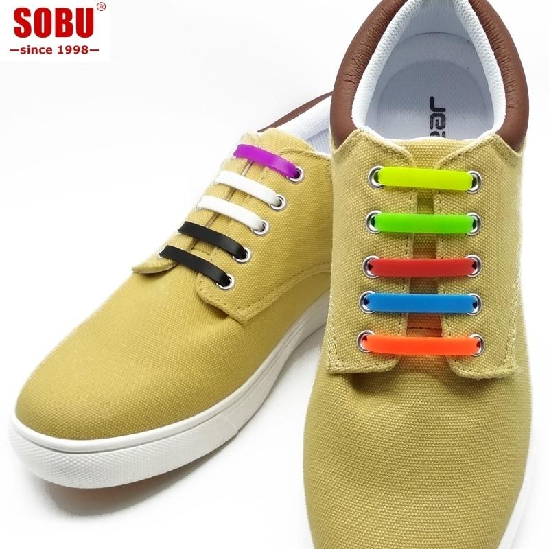 12pcs/lot Running No Tie Shoelaces Fashion Unisex Elastic Silicone Shoe Lace V007