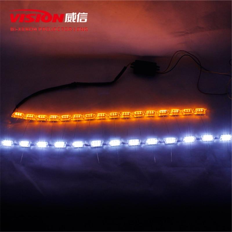 Free Shipping IPHCAR Car Styling Slim LED Daytime Running Lights Flexible LED DAYTIME RUNNING LIGHTS DRL 6000K BRIGHT WHITE