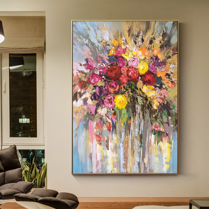 100% Hand Painted Abstract Flowers Art Oil Painting On Canvas Wall Art Wall Adornment Pictures Painting For Live Room Home Decor(China)