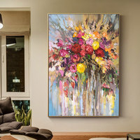 100% Hand Painted Abstract Flowers Art Oil Painting On Canvas Wall Art Wall Adornment Pictures Painting For Live Room Home Decor