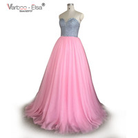 VARBOO_ELSA Pink Prom Dresses 2018 sweetheart silver Crystal Empire Waist Pleat Floor Length Elegant Evening Dresses Robe Arabe