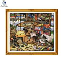 Joy Sunday Sweet Dream Cat Hand-embroidered Needlework Embroidery Stamped Counted Cross Stitch Beginner Home Decor