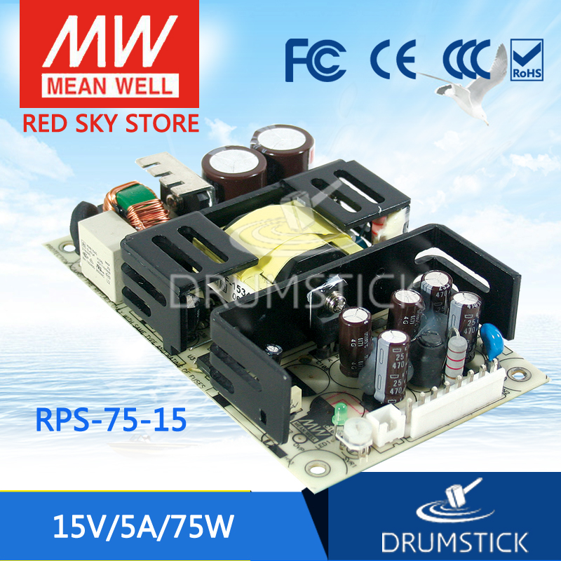 Hot sale MEAN WELL original RPS-75-15 15V meanwell RPS-75 15V 75.6W Single Output Medical Type микрофон для конференций shure mx393 c