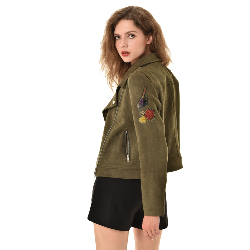2019 New Elegant Women Autumn Zipper Basic Suede Jacket Coat Floral Appliques Outwear Black Spring S-XL