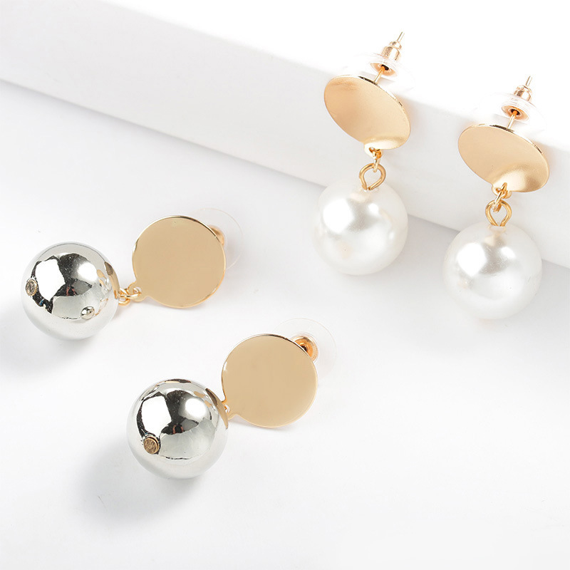 LNRRABC Alloy High Quality Bride Golden Fashion Jewelry Wedding Round Coin White Drop Earrings Allergy Free Grey Imitation Pearl