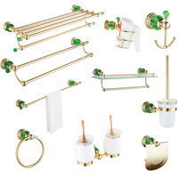 Gold green crystal hair dryer rack copper set European double glass selves bathroom hardware pendant creative bathroom robe hook