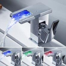 Современные 3 цвета Термометры светодиодные кран раковины ванной комнаты кран Водопад Одной ручкой раковина Нажмите torneira