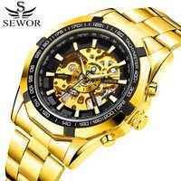 SEWOR 2018 Watch Men Skeleton Automatic Mechanical Watch Gold Skeleton Vintage Man Watch Mens FORSINING Watch Top Brand Luxury