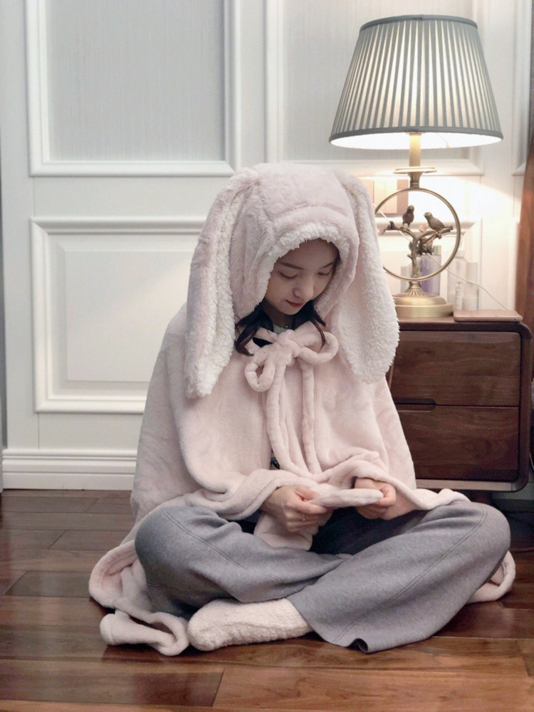 Cute Pink Comfy Blanket Sweatshirt Winter Warm Adults and Children Rabbit Ear Hooded Fleece Blanket Sleepwear Huge Bed Blankets 66