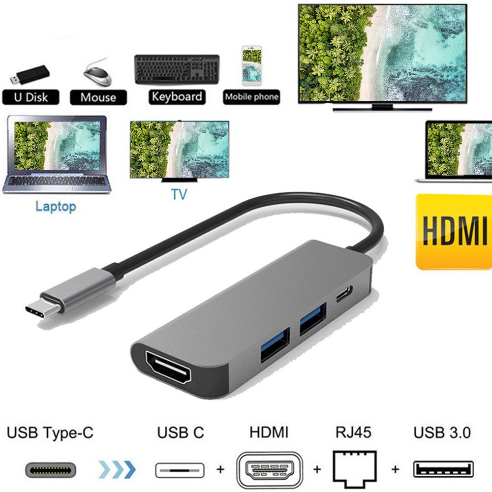 MIOYOOW 4 In 1 Thunderbolt 3 Type-C To HDMI Adapter 2x USB 3.0 Type C PD Hub For MacBook Pro Samsung Galaxy S8 Type C Hub