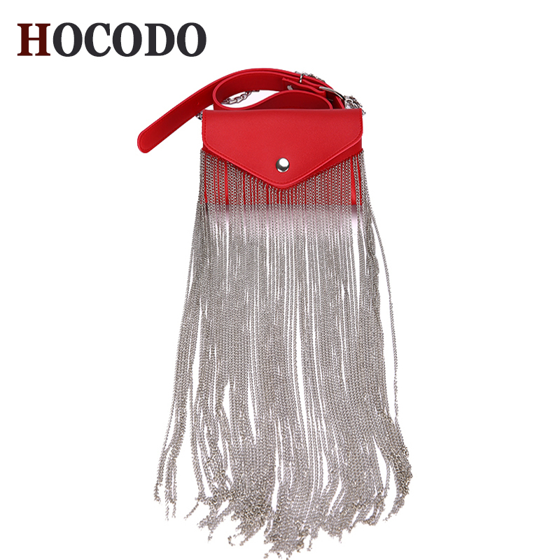 HOCODO PU Leather Fashion Fringed Women Messenger Bag Waist Pack Chain Extra Long Tassel Shoulder Bag Phone Bag Purse Bolsa 2019-in Shoulder Bags from Luggage & Bags