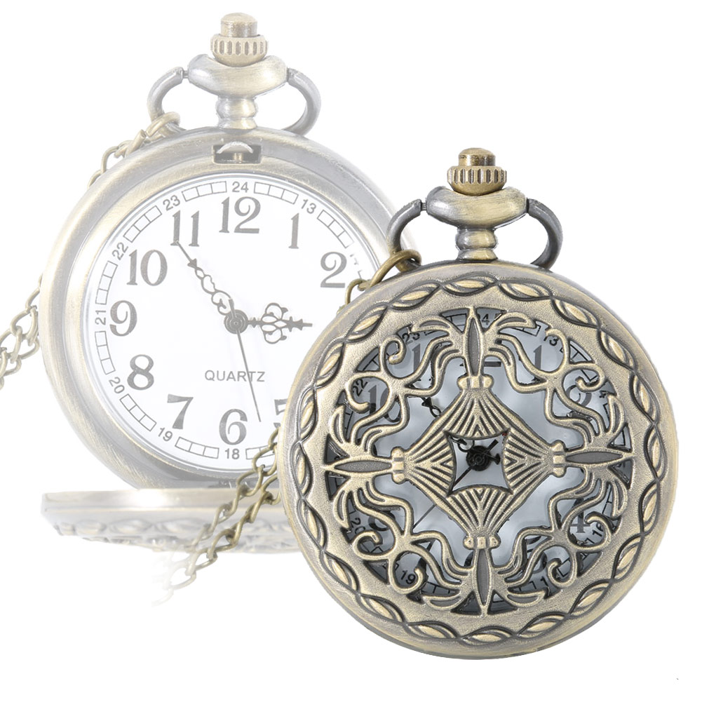 Vintage Hollow Cross Alloy Pocket Watch Necklace Chain Quartz Fob Watches Men Women Birthday Gifts LXH otoky montre pocket watch women vintage retro quartz watch men fashion chain necklace pendant fob watches reloj 20 gift 1pc