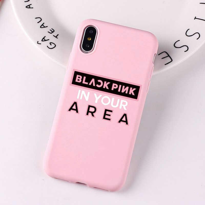 น่ารักฆ่าความรัก Jennie Blackpink เกาหลีซิลิโคนสีชมพูสำหรับ iPhone X XS MAX XR 8 7 6 6 S Plus ฝาครอบ Capa Funda
