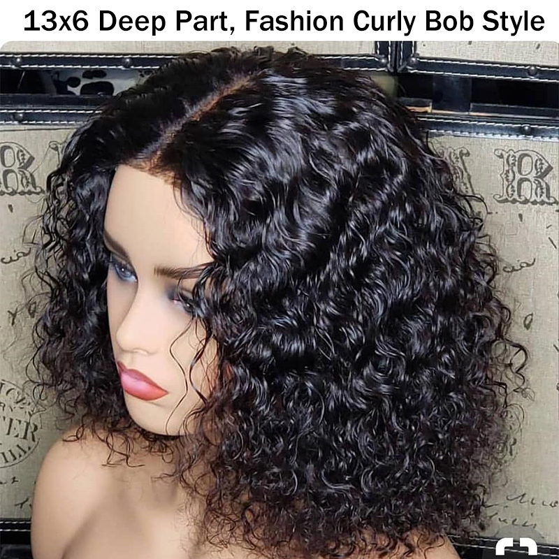 Short Human Hair Wigs For Women Brazilian 13x6 Bob Lace Front Wigs Pre Plucked With Baby Hair Curly 150 Black Ever Beauty Remy