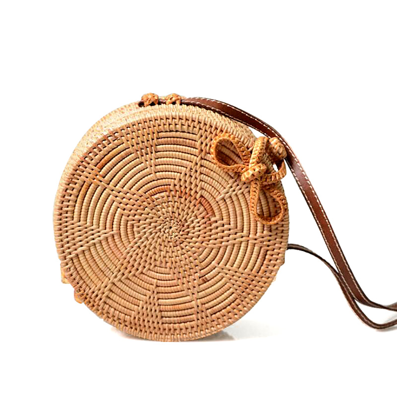 Straw New Women Round Straw Handbag Female Summer Rattan Bag Handmade Woven Shoulder Bags Ladies Casual Beach Handbags bolsas women s handbags female travel vacation round tote bamboo handbag for ladies handmade woven straw beach bag summer women s purse