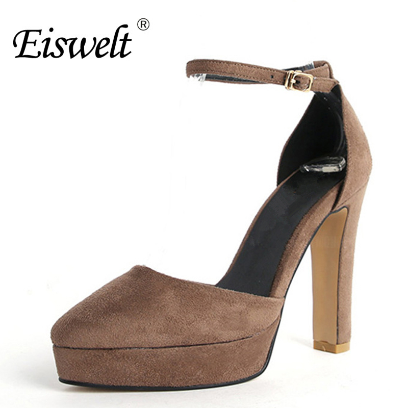 Eiswelt Women Fashion Ultra Comfortable Super High Heel Pointed Flock Platform Shoes Summer Wedding Party Sandals Shoes#ZJF68 eiswelt shoes spring summer fashion rivet flats party pointed flock women shoes wedding shoes glitter flat ladies shoes zjf84