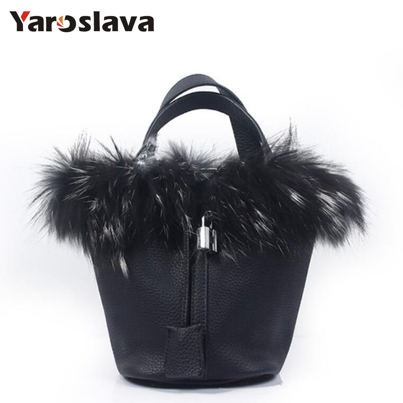 brand luxury Rabbit fur Women handbag female fashion designer bucket shoulder bags Quality PU leather lock Women's Totes LL190