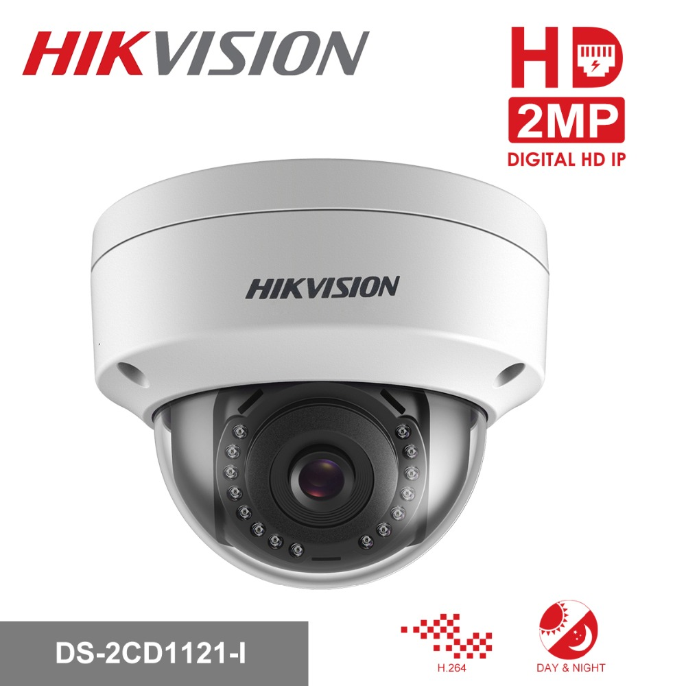 Original Hikvision 1080P CCTV IP Camera 1080P DS-2CD1121-I 2 Megapixel CMOS Night version Security PoE Dome Camera Outdoor цена