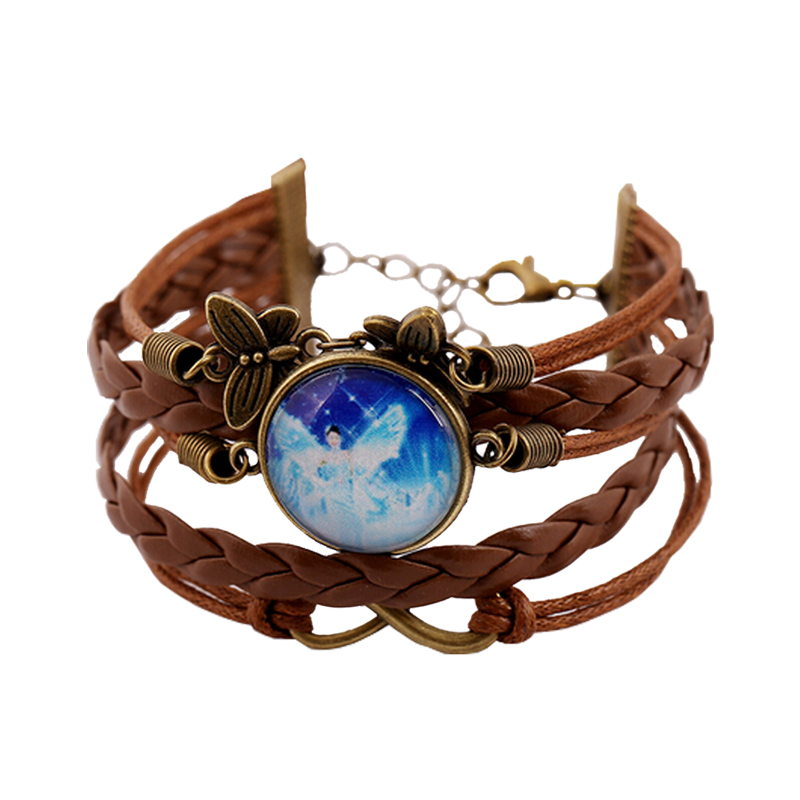 6 Color Punk Style Leather Bracelets For Women Men Handmade Multilayer Braided Galaxy Charm Bracelet Fashion jewelry Accessories