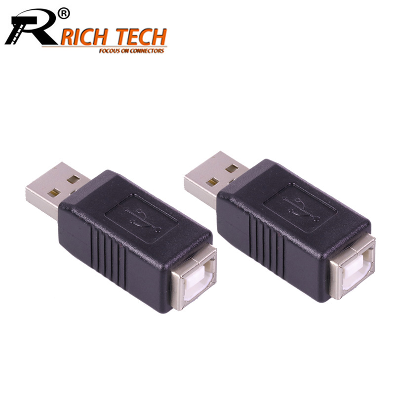 10pcs/lot USB2.0 A Type Male to USB B Type Female Connector USB A to B F/M Coupler Adapter USB Converter RICH TECH Wholesales