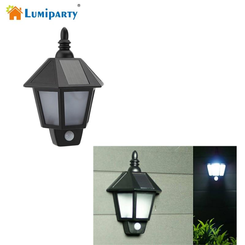 New Outdoor Garden 8 Led Solar Shed Eaves Work Light Lamp: Lumiparty LED Solar Power PIR Motion Sensor Wall Light