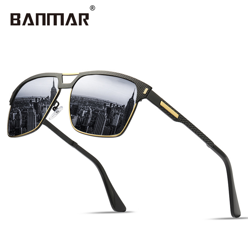 Sunny polarized Square Frame Sunglasses Men Male Night Vision Gray Silver Blue Lens Mirror Retro Brand Designer Sun Glasses el Malus