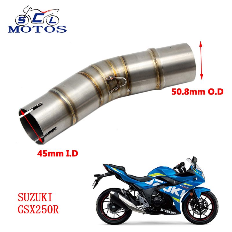 Sclmotos -<font><b>GSX250R</b></font> Stainless Steel Motorcycle <font><b>Exhaust</b></font> Muffler Connector Middle Pipe with for <font><b>SUZUKI</b></font> <font><b>GSX250R</b></font> without <font><b>Exhaust</b></font> image