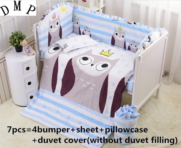 Promotion! 6/7PCS Owl Crib Bedding Sets 100% Cotton Reactive Baby Bedding set ,Duvet Cover, 120*60/120*70cm  promotion 6 7pcs crib sheets bedding set for girls 100% cotton crib bedding duvet cover 120 60 120 70cm