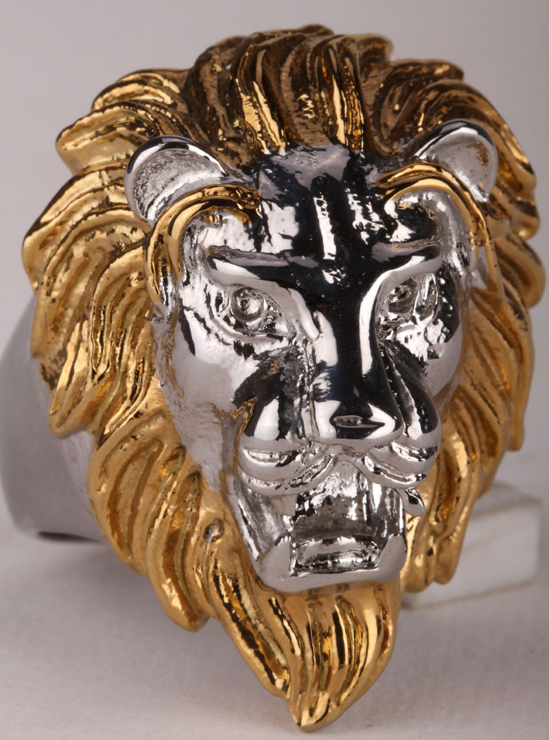 Lion ring for men kids stainless steel 316L biker punk rock party jewelry big animal charm gold color SR03 wholesale 2015