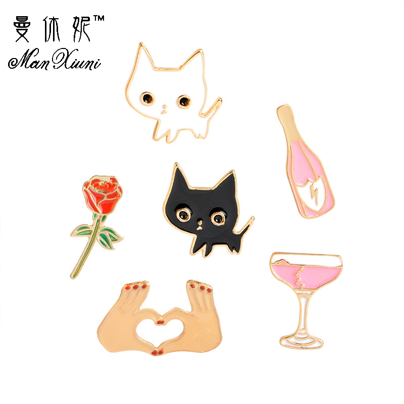 Manxiuni 6pcs/set Cute Cartoon Black White Cat Love gestures lightning wine brooch for women Kids Sweater Suit Accessories Pins