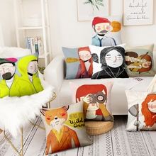 Nordic Cartoon Figure Illustration Cushion Decorative Pillow Scandinavian Cushions Home Pillows Decoration Sofa Throw Pillow cheap Cusion Removable and Washable COTTON HANDMADE Square Cotton Linen Printed New Classical Post-modern Seat Adults NoEnName_Null