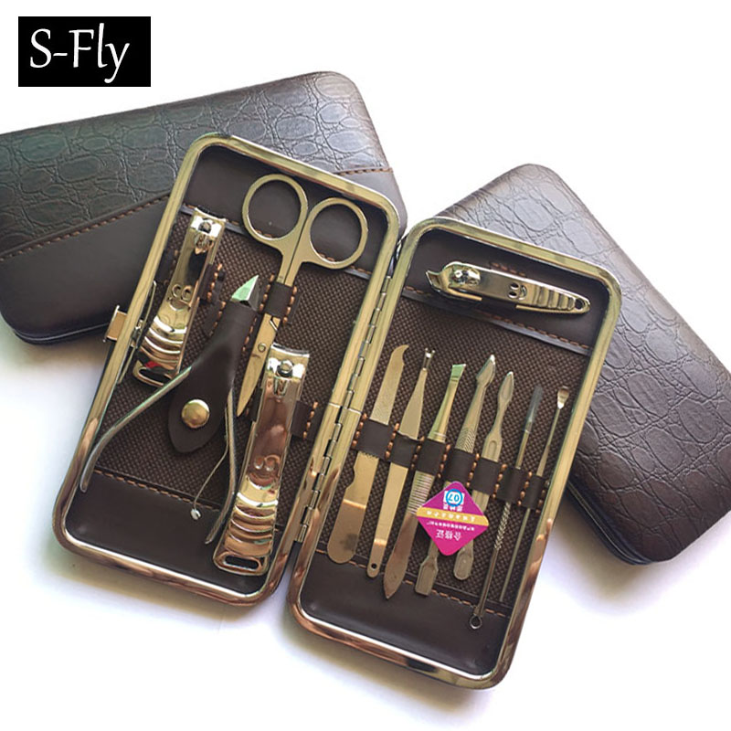 Stone Pattern Case+12pcs/set Nail Clipper Kit Nail Care Set Pedicure Scissor Tweezer Knife Ear pick Utility Manicure Set Tools arieslibra 10pcs silver stainless steel nail cuticle scissor manicure pedicure tools kits double fork dead skin scissor