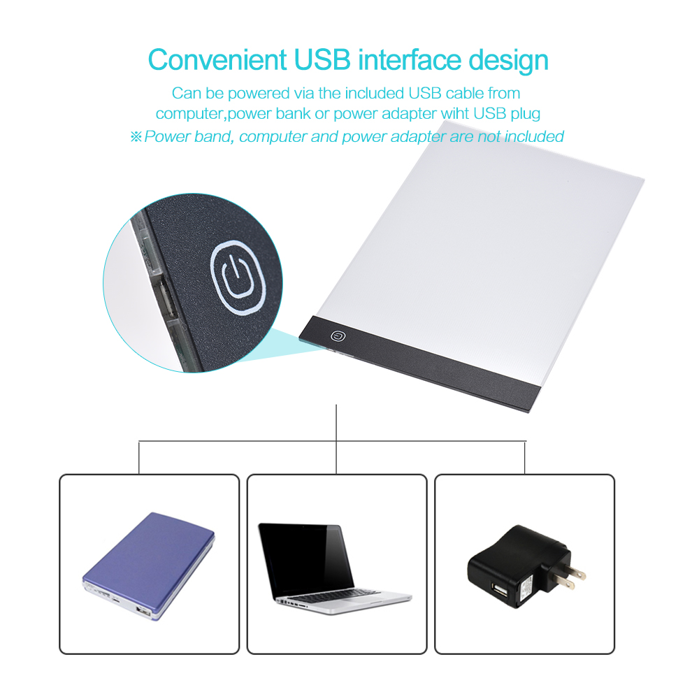 A4 Size Ultra-thin LED Light Pad Box Panel Copyboard For Tracing Drawing X-Ray Viewing