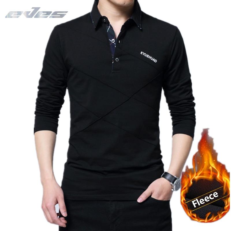 EVES Warm Men' s   Polo   Shirts Male Autumn Winter Men 5XL Plus mens   polos   2018 Cotton Long Sleeve Collar Velvet Tops