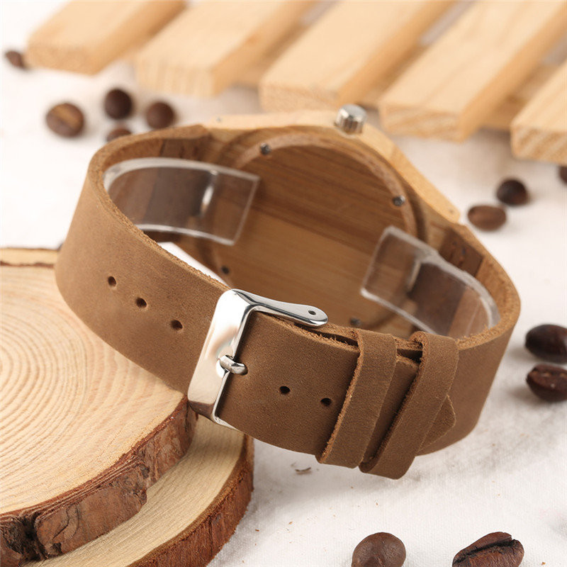 Creative Watches Women Genuine Leather Band Bamboo Case Lady Wrist Watch Wooden Light Yellow Dial Modern Female Clock Xmas Gifts