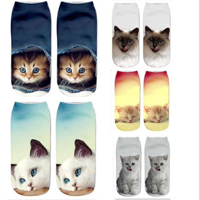 2017 Новый 3D Печать Женщины Носки Марка Носок Мода Unisex Носки Cat Pattern Meias Feminina Смешно Низкой Лодыжки ГОРЯЧАЯ