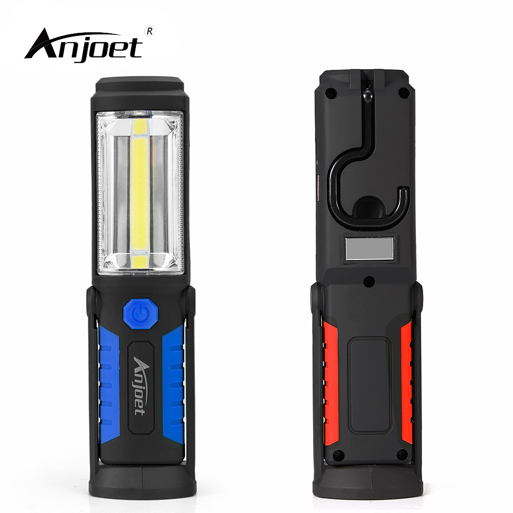 ANJOET Portable COB LED Flashlight Work Light Rechargeable 360 degree Stand Hanging Torch Lamp + built-in battery + USB Charging high power led searchlight lantern built in battery handheld portable flashlight torch rechargeable waterproof hunting lamps
