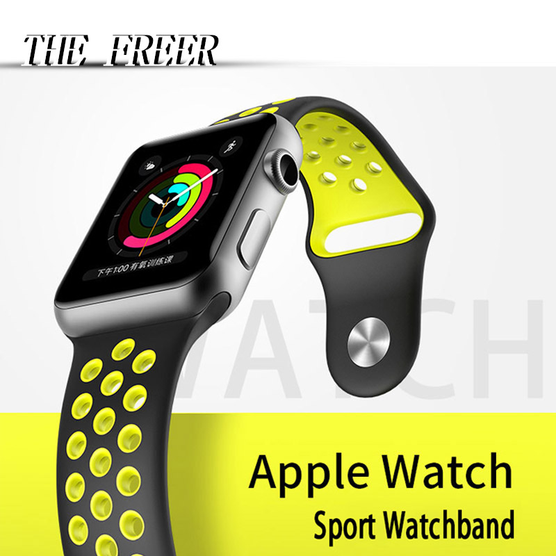 Silicone Sport apple watch Strap for colorful Bracelet Apple WristWatch Band Series 1 2 3  Rubber Watchband iwatch belt watches eache silicone watch band strap replacement watch band can fit for swatch 17mm 19mm men women