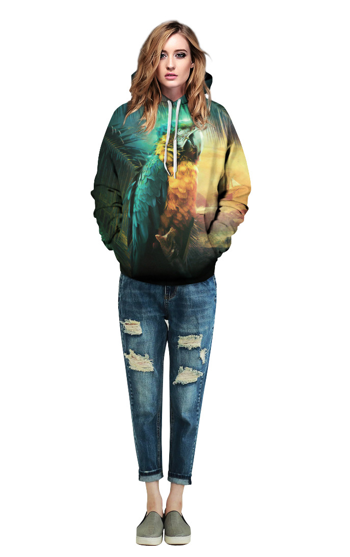 Echoine Women/Men Parrot Printed Sweatshirt Autumn Hooded Hoody Loose Sweatshirt Animal Love Birds Hoodies Pullovers Tops
