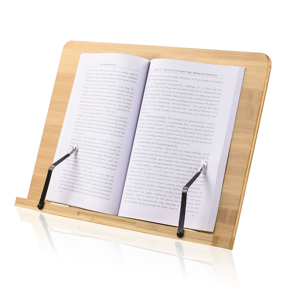 Adjustable <font><b>Bamboo</b></font> <font><b>Book</b></font> <font><b>Stand</b></font> Foldable Desktop Reading Holder for Music <font><b>Books</b></font> Textbooks Tablets Laptop with Page Holder Clips image