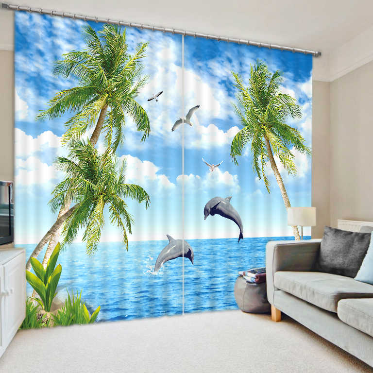 2019 verduisterende gordijnen kokospalm dolphin gordijnen voor woonkamer slaapkamer thuis gordijnen
